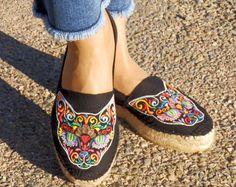 Black embroidered Espadrilles: Mexican Cat