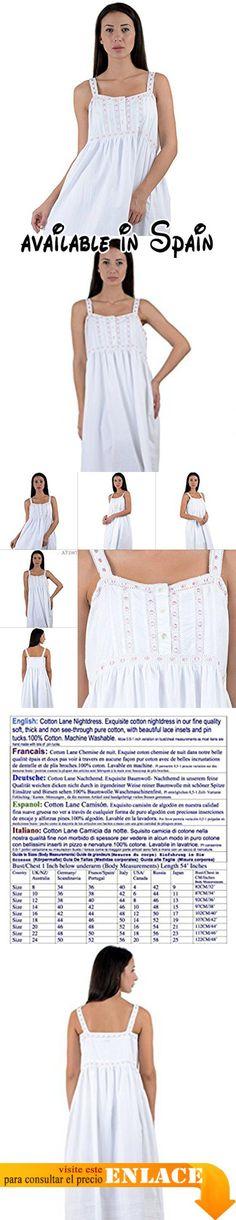 B0775YPDJT : Cotton Lane - Camisón - para mujer Blanco blanco.