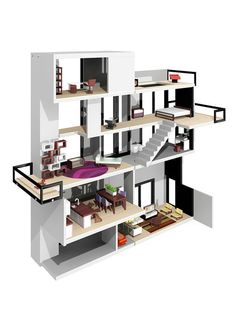 Bennett House by Brinca Dada.  Modern dollhouse with clean lines, a two-story living room, elevator, roof top pool and glass rail balconies.  Way cool! Designed by Tim Boyle.