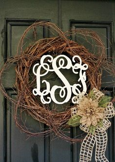 Wooden Monogram Twig and Burlap Wreath... perfect for Fall!
