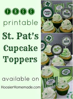 St Patrick's Day free printable boxes and bags   Free Printable St. Patrick's Day Cupcake Toppers :: Available on ...