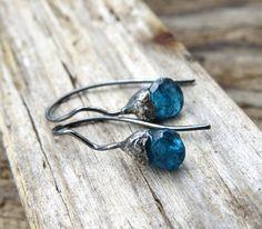 Acorn Earrings, Silver Earrings, Gemstone Earrings, Botanical Jewelry, Floral Jewelry, Dainty Earrings, Minimal Earrings, Gift for her