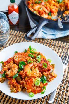 Shrimp Jambalaya - tasty Louisiana rice dish with andouille sausage and shrimp.