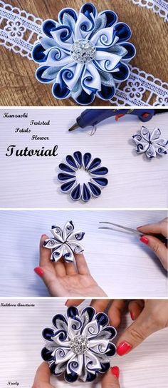 Kanzashi Flower DIY Tutorial - Design Peak You are in the right place about DIY Fabric Flowers wedding Here we offer you the most beautiful pictures about the DIY Fabric Flowers tulips you are looking Diy Ribbon Flowers, Ribbon Flower Tutorial, Ribbon Art, Ribbon Crafts, Flower Crafts, Fabric Flowers, Flower Diy, Ribbon Rose, Ribbon Projects