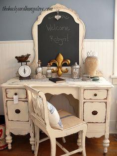 Love this vanity!  Great fix-it for a broken mirror, too. Guest Bedroom thebackyardbungalow.com
