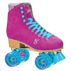 New Candi Girl Carlin Roller Skates. This is all new recreational roller skate from Roller Derby feature split suede leather uppers boot in four bright amazing colors. Aluminum plates with double action trucks and fixed toe stop. Roller Derby Skates, Quad Skates, Roller Skating, Ice Skating, Tween Girl Gifts, Tween Girls, Nike 2017, Suede Boots, Suede Leather