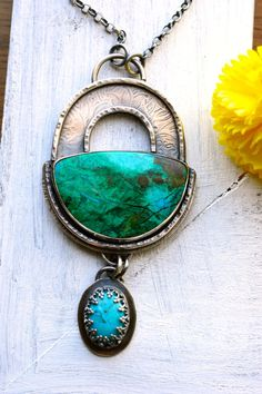Handcrafted One of a Kind Necklace Peruvian Chrysocolla Stone Rustic Textured Composition Summery