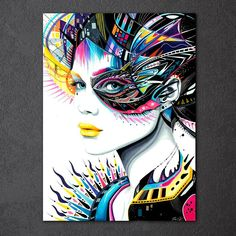 Hot DIY Diamond Mosaic Embroidery Pretty Girl Cross Stitch Home Furnishings Diamond Painting pictures by numbers Art And Illustration, L'art Du Portrait, Portraits, Graffiti, Inspiration Art, Psychedelic Art, Art Design, Graphic Design, Oeuvre D'art