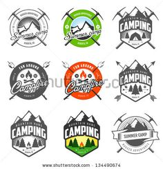 Set of vintage camping logo, labels and badges by Ivan Baranov, via ShutterStock