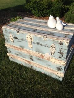 Distressed Duck Egg Blue and White Trunk by Thistle Thatch Designs