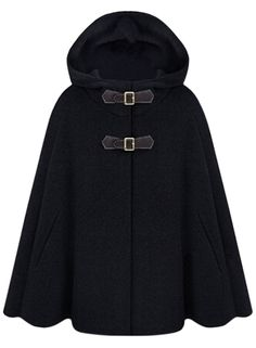 the cloak coat is featuring solid color, cape style, with hooded.