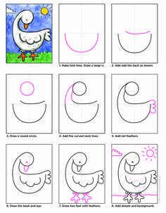 Draw a Goose · Art Projects for Kids Art Drawings For Kids, Drawing For Kids, Animal Drawings, Easy Drawings, Drawing Lessons, Drawing Techniques, Drawing Tutorials, Drawing Ideas, Cool Art Projects