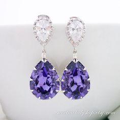 Boucles d'oreilles mariées bijoux de demoiselle d'honneur de mariage-cadeaux bijoux en mariage pourpre foncé lavande lilas boucles d'oreille...