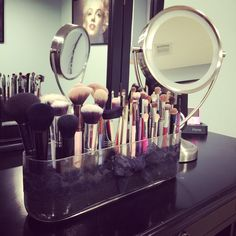 DIY makeup brush holder.
