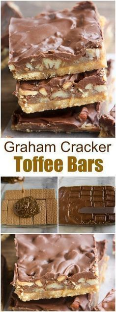 """People go NUTS for these simple, but amazing Graham Cracker Toffee Bars! They only require 5 simple ingredients, and less than 30 minutes to make. They're perfect for a quick and easy """"homemade candy bar"""" type of treat that's sure to be a crowd favorite. Desserts For A Crowd, Köstliche Desserts, Delicious Desserts, Dessert Recipes, Yummy Food, Graham Cracker Toffee, Graham Cracker Recipes, Graham Cracker Dessert, Fudge"""