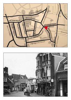 Vanaf hoek Beukingstraat en Berkenkamp/Alsteedsestraat kijken we hier in de Willemstraat. Rechts de Kalanderstraat en links het pand van FA van Schoo. Op de achtergrond de sigarenhandel Zaan op de hoek van de Klanderstraat, rechts Meijer man groente en fruit.