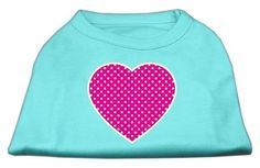 Mirage cat Products Pink Swiss Dot Heart Screen Print Shirt, X-Large, Aqua *** Find out more details by clicking the image : Cat Apparel