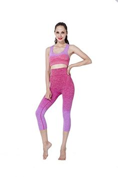Bonas Womens 2PieceSet Gym Outfit Sports Bra and Legging Capris LXL Rose * More info could be found at the image url. (This is an affiliate link)