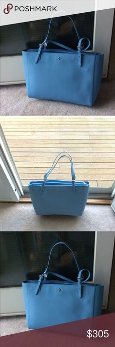 Gorgeous Tory Burch York Tote NWOT Gorgeous Tory Burch large York Tote... Super roomy, interior cushioned pocket for a laptop, multiple interior pockets... Comes with dust bag... Perfect color for summer. Trade Value higher Tory Burch Bags Totes
