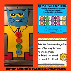 Magnetic Pete the Cat buttons math activity with cute song + FREEBIE=  FUN!!!