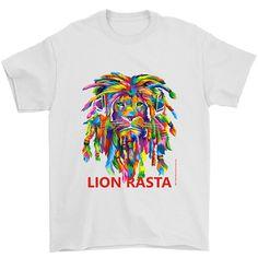 Rasta Lion Dreadlocks White Adult Man T Shirt Rasta Lion Art