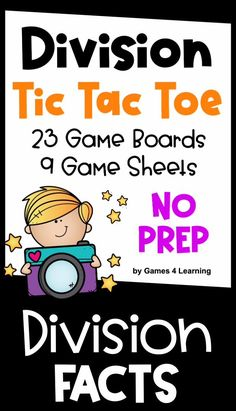 These games combine the fun of Tic Tac Toe with the practice of basic division facts. Students play like regular Tic Tac Toe but must answer the fact before they place a piece. Answering the facts over and over as they play develops division fact fluency. These games are great for third, fourth and fifth grades. They are a fun activity for the classroom, home or homeschool. They include printable and digital versions. The printable games include game boards and also B&W game worksheets. Fun Math, Math Games, Teaching Division, Fluency Practice, Game Boards, Tic Tac Toe, Fifth Grade, Math Classroom, Math Lessons