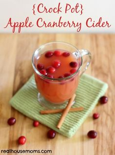 Slow Cooker Apple Cranberry Cider (with or without vodka)