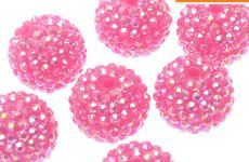 22mm 8 Chunky Hotpink AB Resin Rhinestone 22mm by SofiasCottage, $2.90