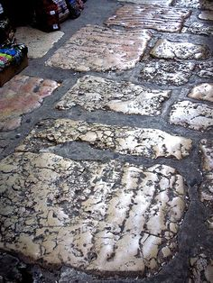 Roman stones pave the floor  of the covered market in the old city of Jerusalem