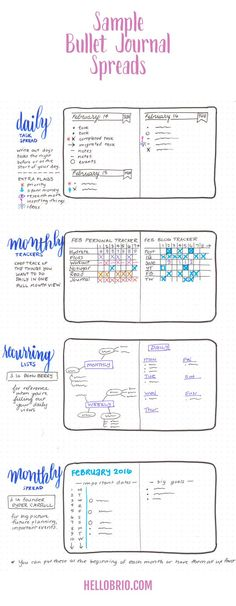 Bullet Journal spread ideas are so vast and different. Here are a few I want to incorporate into my bujo when I start my new one. http://HelloBrio.com
