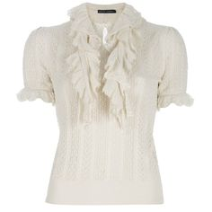 RALPH LAUREN Ruffled blouse (4 075 ZAR) ❤ liked on Polyvore featuring tops, blouses, shirts, blusas, shirt blouse, silk shirt, ruffle front blouse, short sleeve silk shirts and silk ruffle blouse
