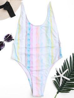 Low Back Tie Dye High Cut Swimsuit - Colormix M