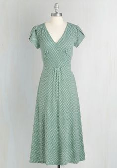 Word to the Blithe Dress in Sage - Jersey, Knit, Green, Polka Dots, Print, 40s, A-line, Short Sleeves, Spring, Work, Pastel, Long