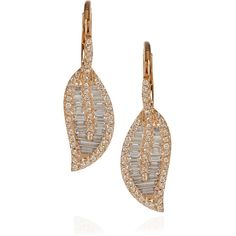 Anita Ko 18-karat rose gold and diamond leaf earrings ($5,470) ❤ liked on Polyvore featuring jewelry, earrings, brincos, accessories, jewels, 18 karat gold earrings, pink gold earrings, clasp earrings, rose gold pave earrings and leaf jewelry