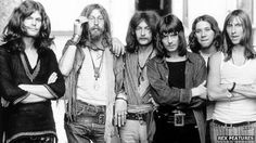 Hawkwind from 1970. Huw is third from right. Dave Brock, Hawkwind's mastermind, is far right. Nik Turner, co-founder, is second from left.