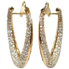 Diamond Pink Gold Hoop Earings | From a unique collection of vintage hoop earrings at http://www.1stdibs.com/jewelry/earrings/hoop-earrings/