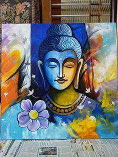 Indian Art Paintings, Modern Art Paintings, Acrylic Painting Canvas, Canvas Art, Budha Painting, Buddha Artwork, Art Painting Gallery, Sketches, Craft