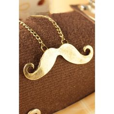 Copper Mustache Pendant Necklace ❤ liked on Polyvore