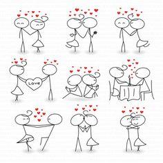 Wedding Digital Clipart Stick Figure Marriage Invitations Valentine Day…