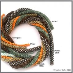 Stitch Tutorial for 4 different Tubular Ropes $7USD  ~ Seed Bead Tutorials