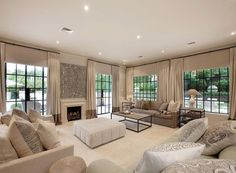 Beige Colours Open Plan Living Room With Carpet & Fireplace Living Room Interior Ideas #1894