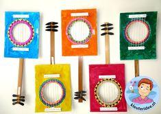 Gitaar knutselen met kleuters 3 , thema muziek, Kindergarten guitar craft, music theme,  kleuteridee.nl