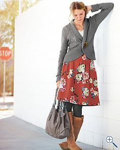 Shawl-collar cardigan with floral skirt and boots