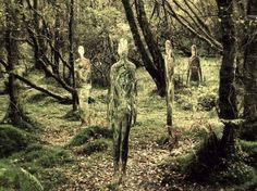Human Mirror Sculptures in the Forest  <3!