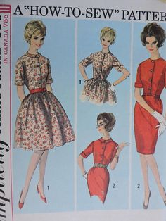 Dress w/ Two Skirts Fashion Vintage Simplicity 5022 Pattern Sz. One Piece Dress, Two Piece Skirt Set, Fitted Bodice, Fashion Vintage, Skirt Fashion, Dresses With Sleeves, Slim, Fabric, Skirts