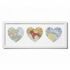 Trio of bespoke vintage map hearts - hardtofind.
