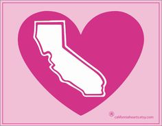 """The California Pink Heart """" Breast Cancer Support """" Dacal - pinned by pin4etsy.com"""