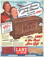 Lane Cedar Hope Chest 2252 1948 Ad. Model 2221 18th Century drawer design in Honduras Mahogany. Model 2216 modern design in Limed Oak. In Ca...