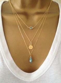 A delicate & sweet 3 layer Necklace Set! A little Mint Green Gem is encased in Gold plated Metal and this charm hangs nicely from a 15 3 Layer Necklace, Layered Necklace Set, Layered Necklaces Silver, Coin Necklace, Layering Necklaces, Gold Necklaces, Mother Necklace, Beaded Necklace, Mother Birthday Gifts