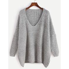 Grey Marled Knit Drop Shoulder Sweater